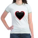 Black Glossy Heart Anti Valentine Jr. Ringer T-Shi