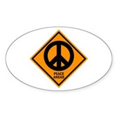Peace Ahead Oval Sticker