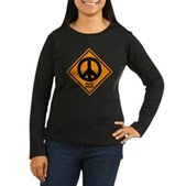 Peace Ahead Women's Long Sleeve Dark T-Shirt