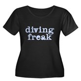 Diving Freak Women's Plus Size Scoop Neck Dark T-S