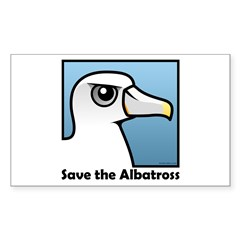 Save the Albatross (close-up) Sticker (Rectangle)