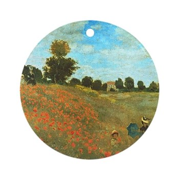 Field of Poppies by Monet Round Ornament