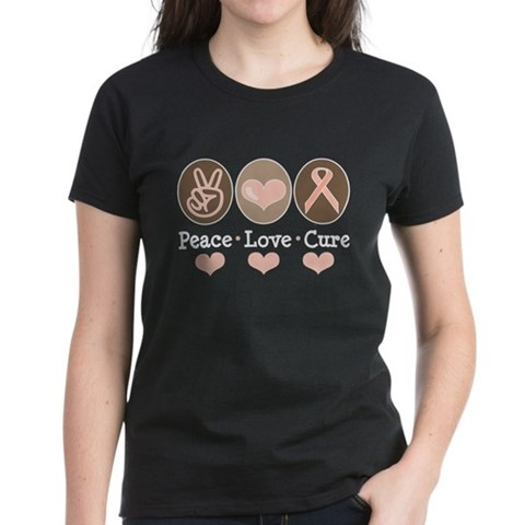 Peace Love Cure Pink Ribbon Women's Dark T-Shirt