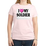 I Love (pink heart) My Soldier Women's Pink T-Shir