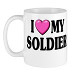 I Love (pink heart) My Soldier Mug