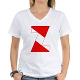 Scuba Flag Letter Z Women's V-Neck T-Shirt