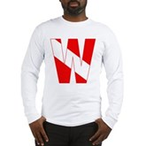 Scuba Flag Letter W Long Sleeve T-Shirt