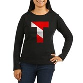 Scuba Flag Letter T Women's Long Sleeve Dark T-Shi