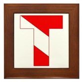 Scuba Flag Letter T Framed Tile