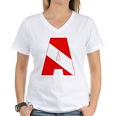 Scuba Flag Letter A Women's V-Neck T-Shirt