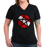 Scuba Flag Pentagram Women's V-Neck Dark T-Shirt