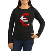 Scuba Flag Euro Sign Women's Long Sleeve Dark T-Sh