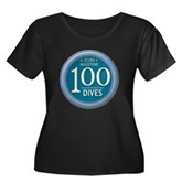 100 Dives Women's Plus Size Scoop Neck Dark T-Shir