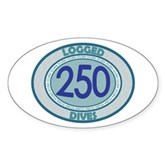250 Logged Dives Oval Sticker