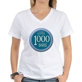 1000 Dives Milestone Women's V-Neck T-Shirt