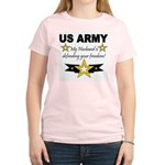 Army My husband is defending Women's Pink T-Shirt