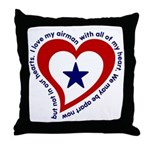 Heart service Flag - Airman Throw Pillow