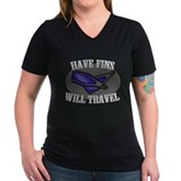 Have Fins Will Travel Women's V-Neck Dark T-Shirt