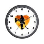 Firefighter and Flames Wall Clock