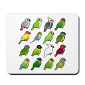16 Birdorable Parrots Mousepad