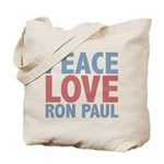 Peace Love Ron Paul Tote Bag