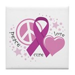 CF Peace Love Cure Tile Coaster