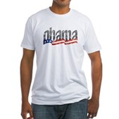 Obama Flag Wave Rising Fitted T-Shirt