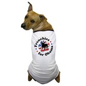 This great Frenchies for Obama dog t-shirt lets your dog show support for Barack Obama! A paw print is filled in w/ stars & stripes. A great Obama dog t-shirt for patriotic Democratic pooches!