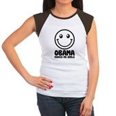 Obama Makes Me Smile Women's Cap Sleeve T-Shirt