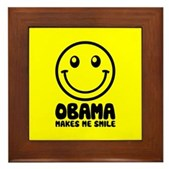 Obama Makes Me Smile Framed Tile