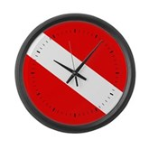 Scuba Flag (black lines) Large Wall Clock