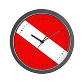 Scuba Flag (black lines) Wall Clock