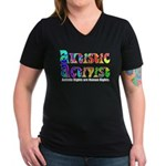 Autistic Activist v1 Women's V-Neck Dark T-Shirt