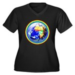 Autistic Planet Women's Plus Size V-Neck Dark T-Sh