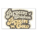 Brown Chicken Brown Cow Rectangle Sticker