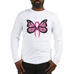 Breast Cancer Butterfly Long Sleeve T-Shirt