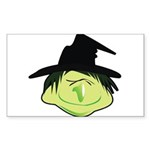 Happy Green Witch Sticker (Rectangle 50 pk)