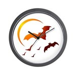 Flying Vampire Bats Wall Clock