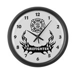 Fire Dept Tattoos Large Wall Clock