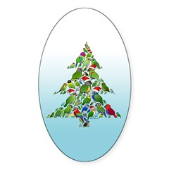 Birdorable Parrot Christmas Tree Sticker (Oval)