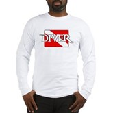Pirate-style Diver Flag Long Sleeve T-Shirt