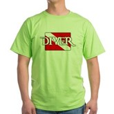 Pirate-style Diver Flag Green T-Shirt