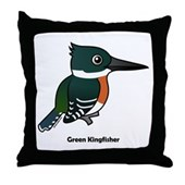 Green Kingfisher Throw Pillow