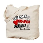 PEACE LOVE CURE Lung Cancer Tote Bag