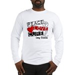 PEACE LOVE CURE Lung Cancer Long Sleeve T-Shirt