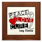 PEACE LOVE CURE Lung Cancer Framed Tile
