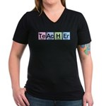 Teacher made of Elements Women's V-Neck Dark T-Shi