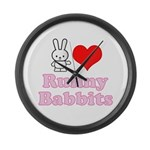 I Love Runny Babbits Large Wall Clock