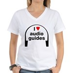 I Love Audio Guides Women's V-Neck T-Shirt