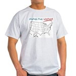 States I've Been To Light T-Shirt